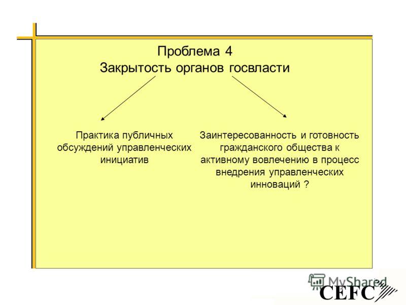 CEFC Проблема 4 Закрытость органов госвласти Практика публичных обсуждений управленческих инициатив Заинтересованность и готовность гражданского общества к активному вовлечению в процесс внедрения управленческих инноваций ?
