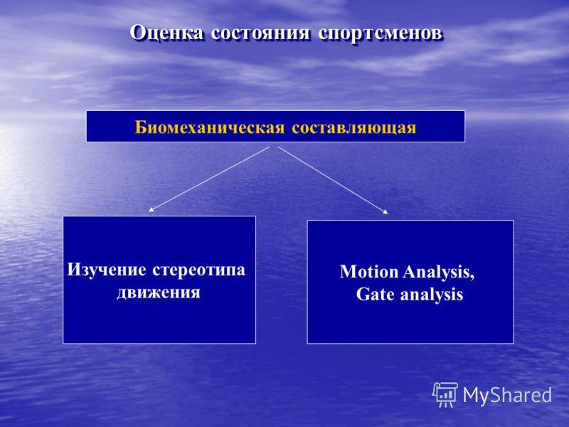Оценка состояния спортсменов Биомеханическая составляющая Изучение стереотипа движения Motion Analysis, Gate analysis