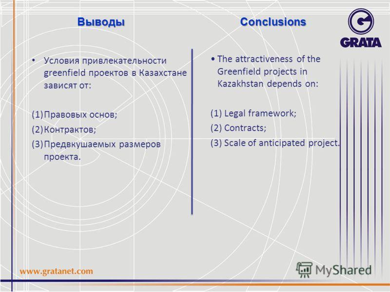 Conclusions Условия привлекательности greenfield проектов в Казахстане зависят от: (1)Правовых основ; (2)Контрактов; (3)Предвкушаемых размеров проекта. The attractiveness of the Greenfield projects in Kazakhstan depends on: (1) Legal framework; (2) C