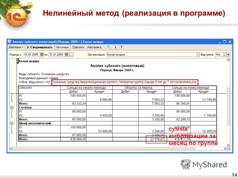 14 Суммарный баланс и суммы начисленной нелинейным методом амортизации по амортизационным группам можно также посмотреть в отчете Анализ субконто (налоговый учет) Нелинейный метод (реализация в программе)