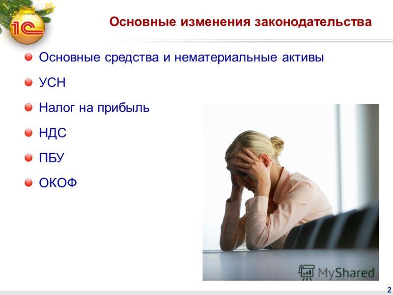 2 Основные изменения законодательства Основные средства и нематериальные активы УСН Налог на прибыль НДС ПБУ ОКОФ