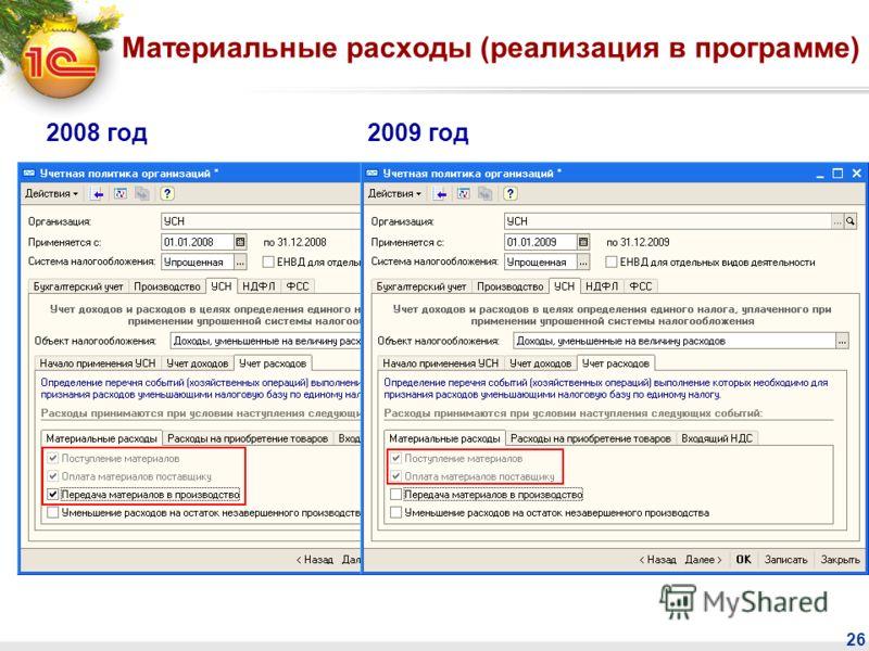 26 Материальные расходы (реализация в программе) 2008 год2009 год