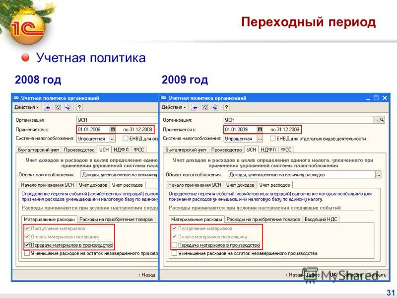 31 Переходный период Учетная политика 2008 год2009 год