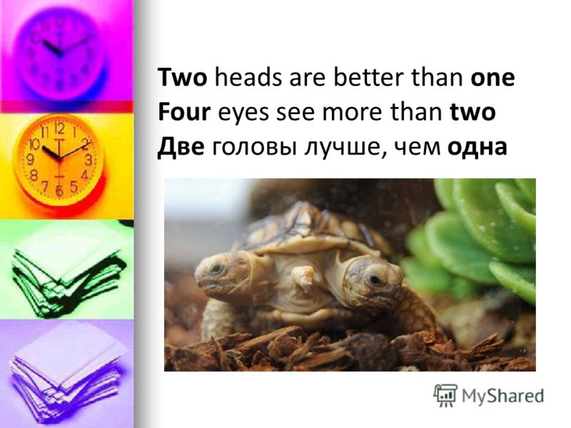Two heads are better than one Four eyes see more than two Две головы лучше, чем одна
