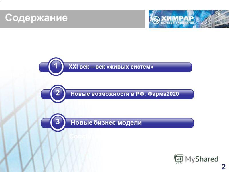 Conclusions. Содержание 2 Новые возможности в РФ. Фарма2020 3 Новые бизнес модели 1 XXI век – век «живых систем» 2