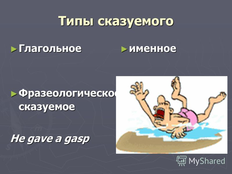 Типы сказуемого Глагольное Глагольное Фразеологическое сказуемое Фразеологическое сказуемое He gave a gasp именное именное