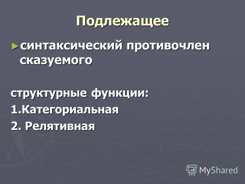 Подлежащее синтаксический противочлен сказуемого синтаксический противочлен сказуемого структурные функции: 1.Категориальная 2. Релятивная
