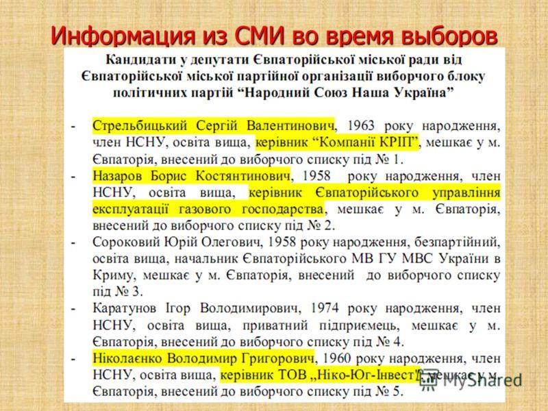 Информация из СМИ во время выборов