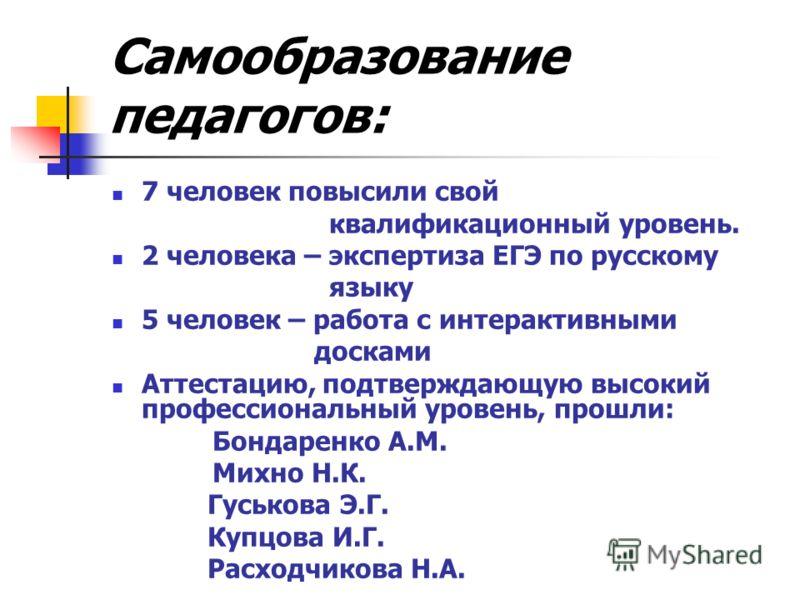 Самообразование педагогов: 7 человек повысили свой квалификационный уровень. 2 человека – экспертиза ЕГЭ по русскому языку 5 человек – работа с интерактивными досками Аттестацию, подтверждающую высокий профессиональный уровень, прошли: Бондаренко А.М