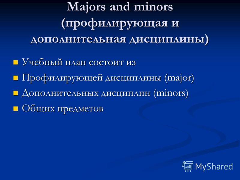 Majors and minors (профилирующая и дополнительная дисциплины) Учебный план состоит из Учебный план состоит из Профилирующей дисциплины (major) Профилирующей дисциплины (major) Дополнительных дисциплин (minors) Дополнительных дисциплин (minors) Общих