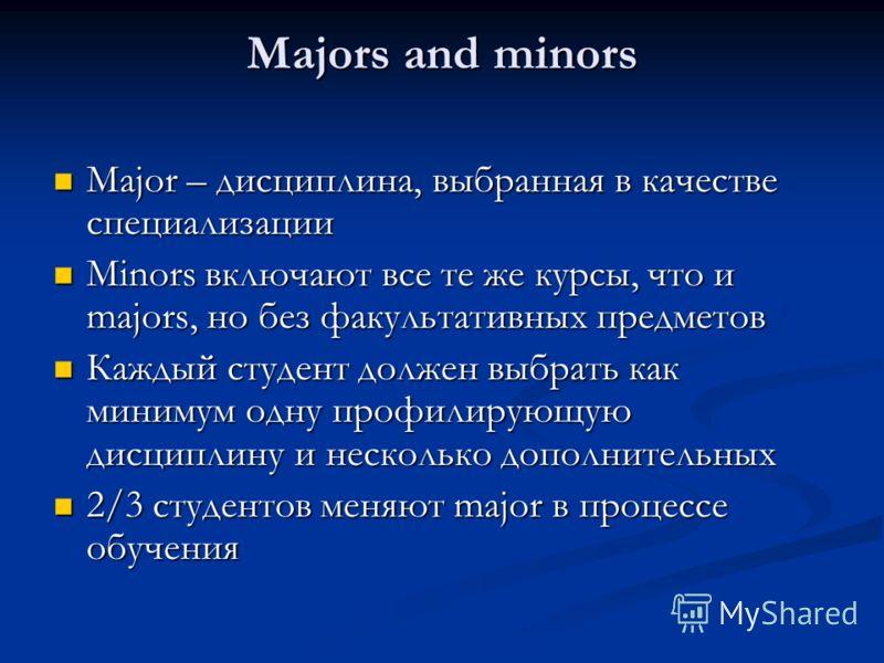 Majors and minors Major – дисциплина, выбранная в качестве специализации Major – дисциплина, выбранная в качестве специализации Minors включают все те же курсы, что и majors, но без факультативных предметов Minors включают все те же курсы, что и majo