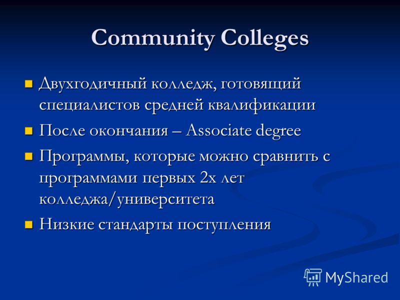Community Colleges Двухгодичный колледж, готовящий специалистов средней квалификации Двухгодичный колледж, готовящий специалистов средней квалификации После окончания – Associate degree После окончания – Associate degree Программы, которые можно срав