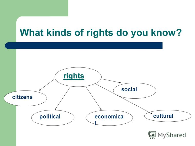 What kinds of rights do you know? rights citizens politicaleconomica l social cultural