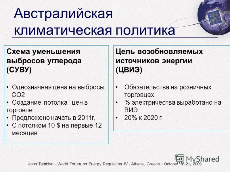 John Tamblyn - World Forum on Energy Regulation IV - Athens, Greece - October 18-21, 2009 Австралийская климатическая политика Схема уменьшения выбросов углерода (СУВУ) Однозначная цена на выбросы CO2 Создание потолка цен в торговле Предложено начать