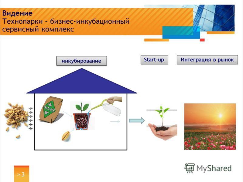 > 3> 3 Видение Технопарки – бизнес-инкубационный сервисный комплекс инкубирование Интеграция в рынок Start-up