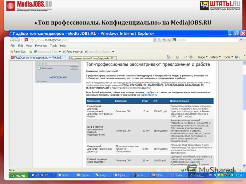 «Топ-профессионалы. Конфиденциально» на MediaJOBS.RU