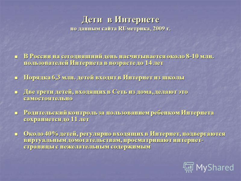 Дети в Интернете по данным сайта RUметрика, 2009 г. В России на сегодняшний день насчитывается около 8-10 млн. пользователей Интернета в возрасте до 14 лет В России на сегодняшний день насчитывается около 8-10 млн. пользователей Интернета в возрасте