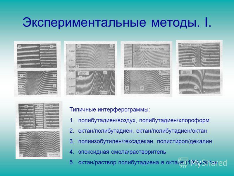 Экспериментальные методы. I. Типичные интерферограммы: 1.полибутадиен/воздух, полибутадиен/хлороформ 2.октан/полибутадиен, октан/полибутадиен/октан 3.полиизобутилен/гексадекан, полистирол/декалин 4.эпоксидная смола/растворитель 5.октан/раствор полибу