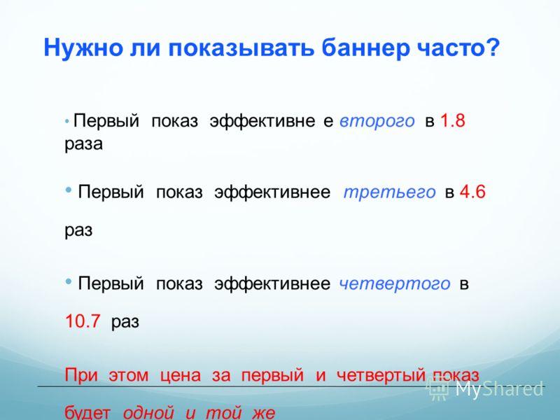Нужно ли показывать баннер часто? Первый показ эффективне е второго в 1.8 раза Первый показ эффективнее третьего в 4.6 раз Первый показ эффективнее четвертого в 10.7 раз При этом цена за первый и четвертый показ будет одной и той же