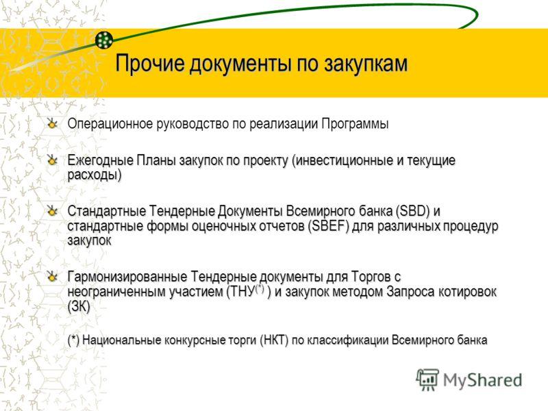 Прочие документы по закупкам Операционное руководство по реализации Программы Ежегодные Планы закупок по проекту (инвестиционные и текущие расходы) Стандартные Тендерные Документы Всемирного банка (SBD) и стандартные формы оценочных отчетов (SBEF) дл