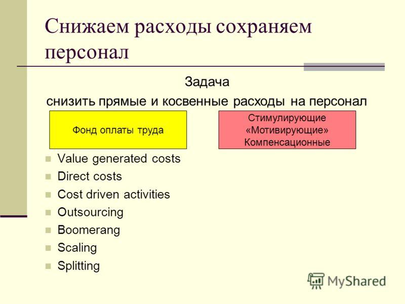 Снижаем расходы сохраняем персонал Задача снизить прямые и косвенные расходы на персонал Value generated costs Direct costs Cost driven activities Outsourcing Boomerang Scaling Splitting Фонд оплаты труда Стимулирующие «Мотивирующие» Компенсационные