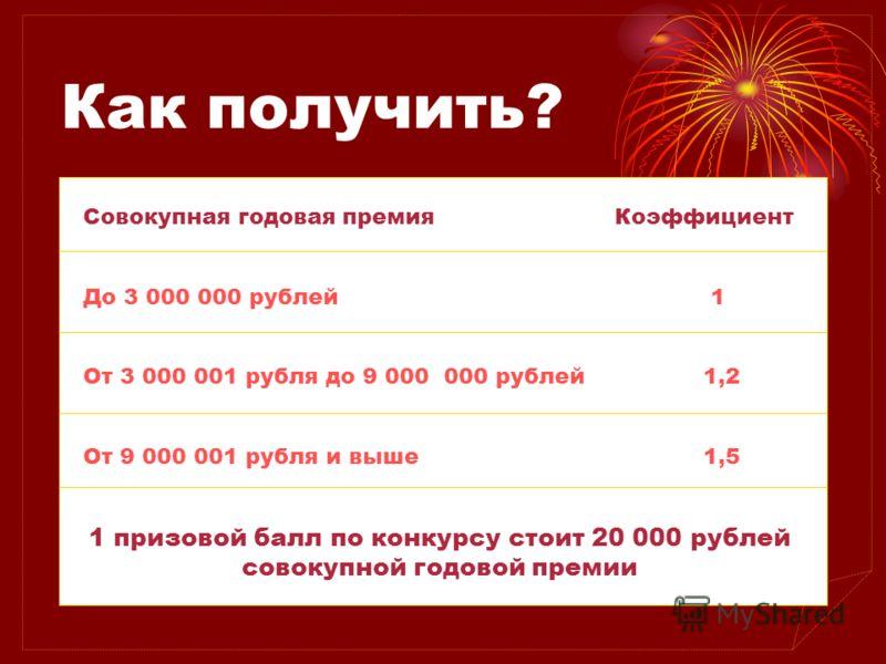 Как получить? Нужно сделать определенный оборот за три холодных месяца. Вводится система коэффициентов начисления баллов в зависимости от объемов продаж. Совокупная годовая премияКоэффициент До 3 000 000 рублей 1 От 3 000 001 рубля до 9 000 000 рубле