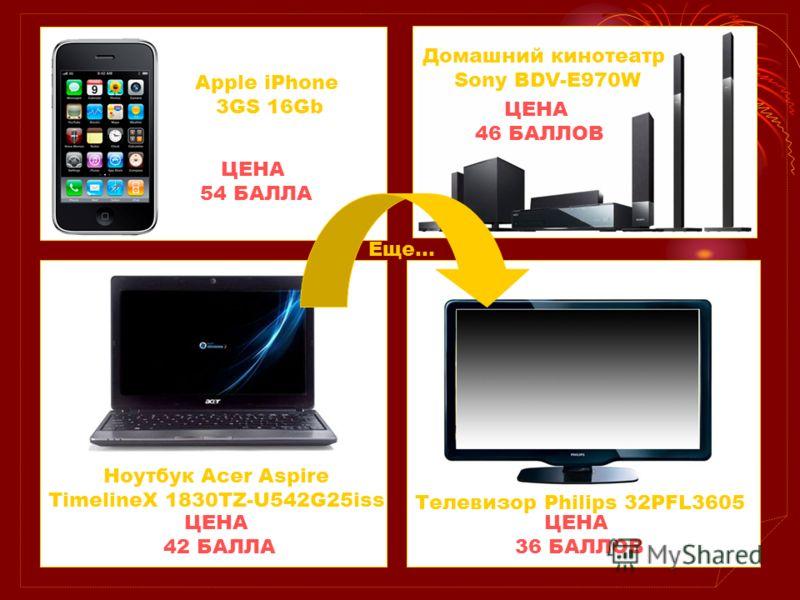 Apple iPhone 3GS 16Gb ЦЕНА 54 БАЛЛА Домашний кинотеатр Sony BDV-E970W ЦЕНА 46 БАЛЛОВ Телевизор Philips 32PFL3605 ЦЕНА 36 БАЛЛОВ Ноутбук Acer Aspire TimelineX 1830TZ-U542G25iss ЦЕНА 42 БАЛЛА Еще…