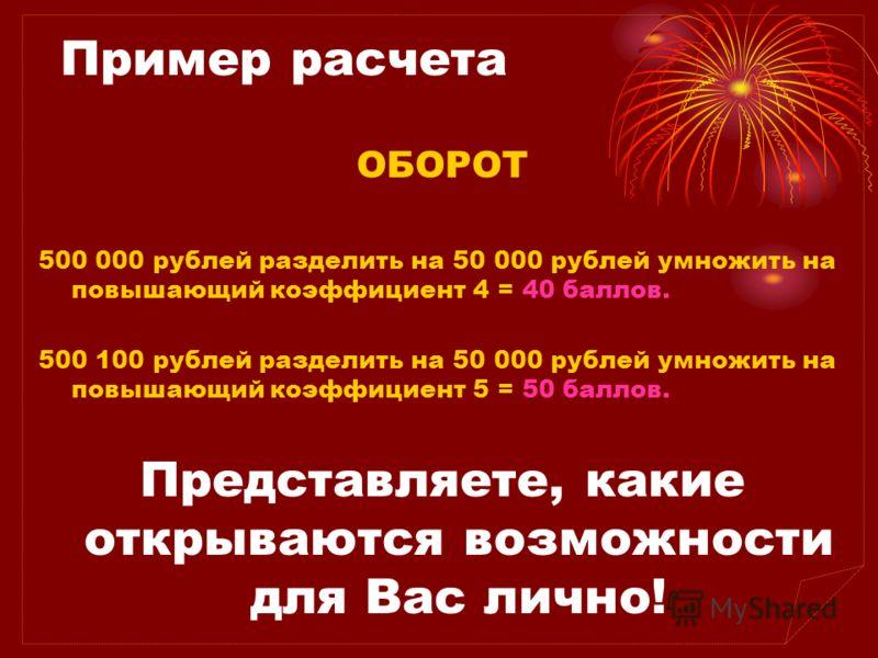 Пример расчета ОБОРОТ 500 000 рублей разделить на 50 000 рублей умножить на повышающий коэффициент 4 = 40 баллов. 500 100 рублей разделить на 50 000 рублей умножить на повышающий коэффициент 5 = 50 баллов. Представляете, какие открываются возможности