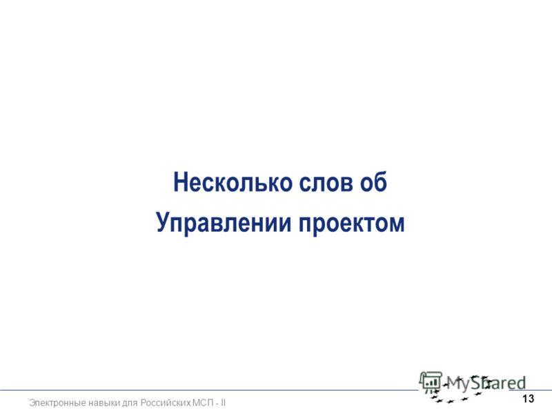 Электронные навыки для Российских МСП - II 13 Несколько слов об Управлении проектом
