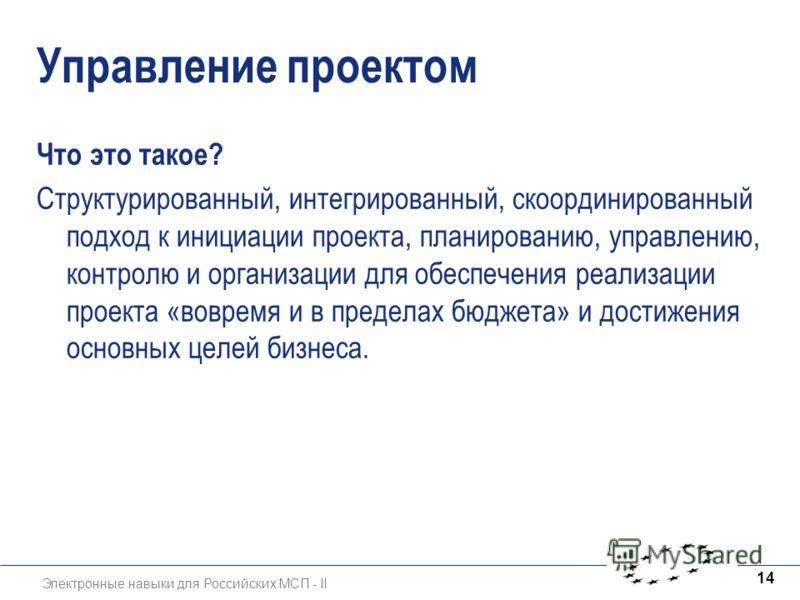 Электронные навыки для Российских МСП - II 14 Управление проектом Что это такое? Структурированный, интегрированный, скоординированный подход к инициации проекта, планированию, управлению, контролю и организации для обеспечения реализации проекта «во