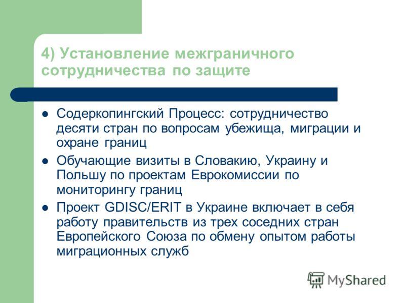 4) Установление межграничного сотрудничества по защите Содеркопингский Процесс: сотрудничество десяти стран по вопросам убежища, миграции и охране границ Обучающие визиты в Словакию, Украину и Польшу по проектам Еврокомиссии по мониторингу границ Про