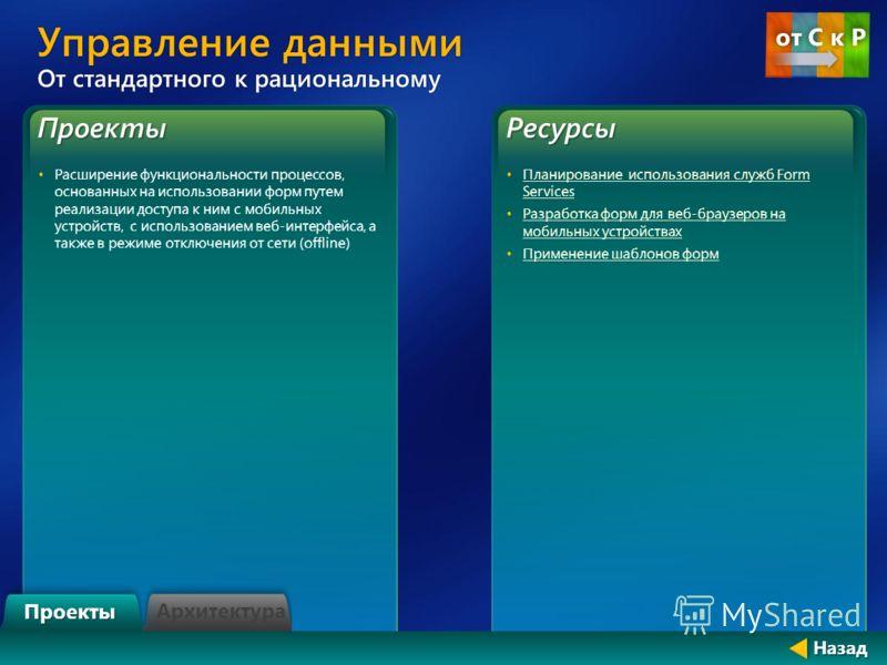 Проекты Расширение функциональности процессов, основанных на использовании форм путем реализации доступа к ним с мобильных устройств, с использованием веб-интерфейса, а также в режиме отключения от сети (offline)Ресурсы Планирование использования слу