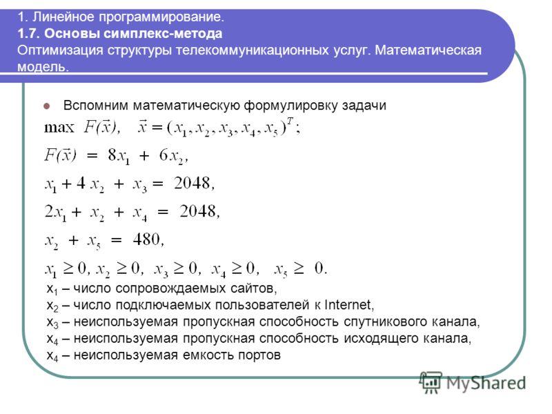 1. Линейное программирование. 1.7. Основы симплекс-метода Оптимизация структуры телекоммуникационных услуг. Математическая модель. Вспомним математическую формулировку задачи x 1 – число сопровождаемых сайтов, x 2 – число подключаемых пользователей к