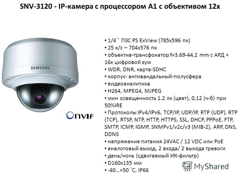 1/4`` ПЗС PS ExView (785x596 пк) 25 к/с – 704x576 пк объектив-трансфокатор f=3.69-44,2 mm с АРД + 16х цифровой зум WDR, DNR, карта-SDHC корпус- антивандальный-полусфера видеоаналитика H264, MPEG4, MJPEG мин освещенность 1.2 лк (цвет), 0,12 (ч-б) при