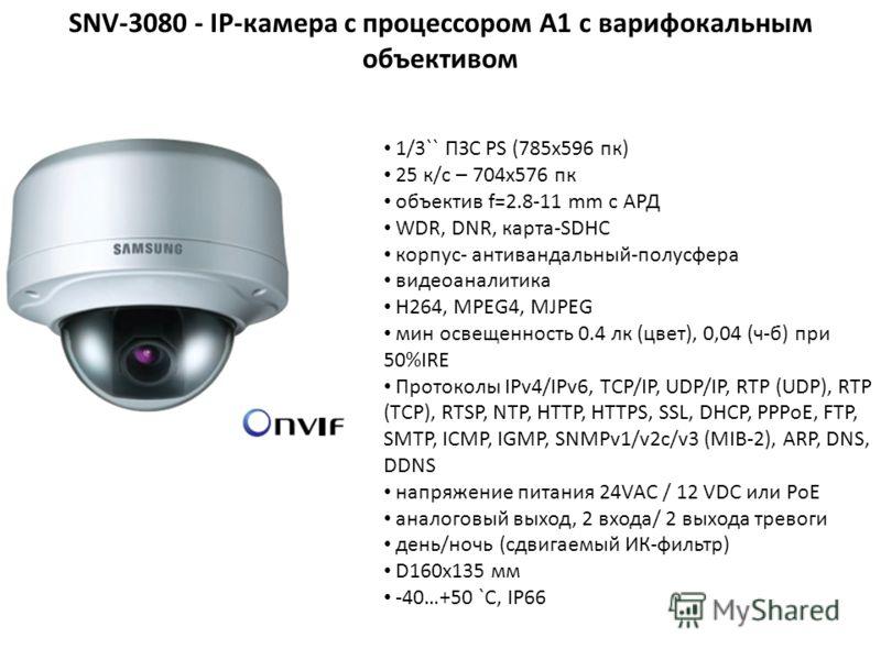 1/3`` ПЗС PS (785x596 пк) 25 к/с – 704x576 пк объектив f=2.8-11 mm с АРД WDR, DNR, карта-SDHC корпус- антивандальный-полусфера видеоаналитика H264, MPEG4, MJPEG мин освещенность 0.4 лк (цвет), 0,04 (ч-б) при 50%IRE Протоколы IPv4/IPv6, TCP/IP, UDP/IP
