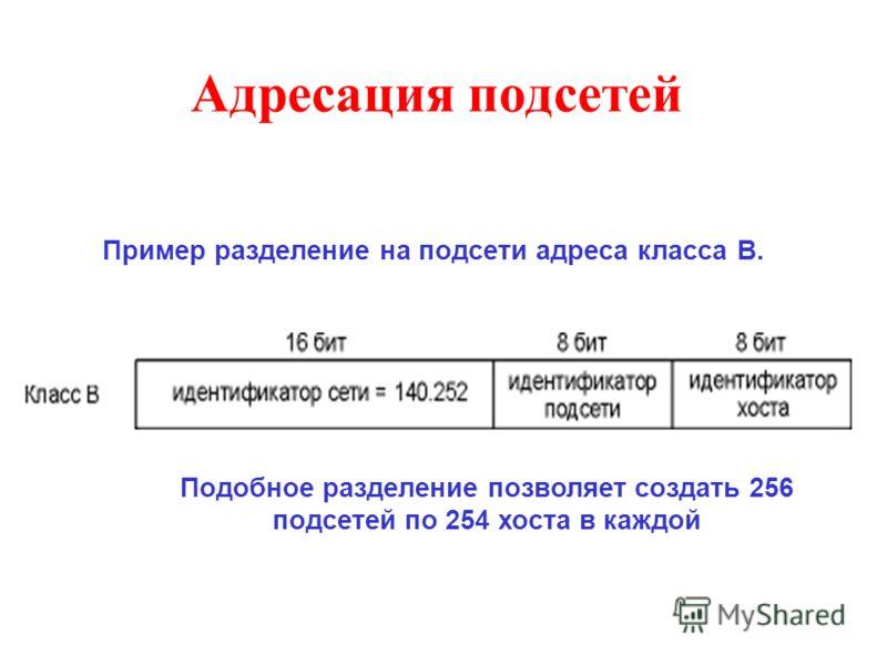 Адресация подсетей Подобное разделение позволяет создать 256 подсетей по 254 хоста в каждой Пример разделение на подсети адреса класса B.