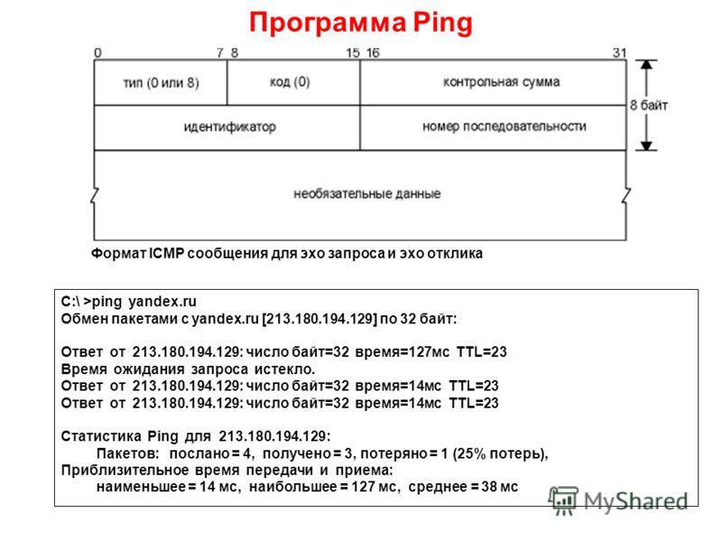 Программа Ping Формат ICMP сообщения для эхо запроса и эхо отклика C:\ >ping yandex.ru Обмен пакетами с yandex.ru [213.180.194.129] по 32 байт: Ответ от 213.180.194.129: число байт=32 время=127мс TTL=23 Время ожидания запроса истекло. Ответ от 213.18