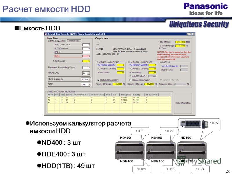 20 Расчет емкости HDD Емкость HDD Используем калькулятор расчета емкости HDD ND400 : 3 шт HDE400 : 3 шт HDD(1TB) : 49 шт ND400 HDE400 1TB*9 1TB*4