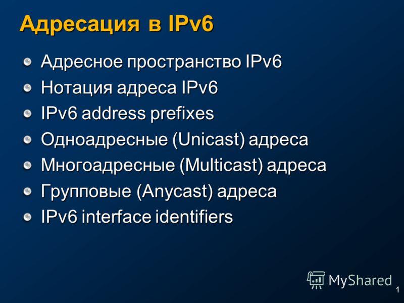 1 Адресация в IPv6 Адресное пространство IPv6 Нотация адреса IPv6 IPv6 address prefixes Одноадресные (Unicast) адреса Многоадресные (Multicast) адреса Групповые (Anycast) адреса IPv6 interface identifiers