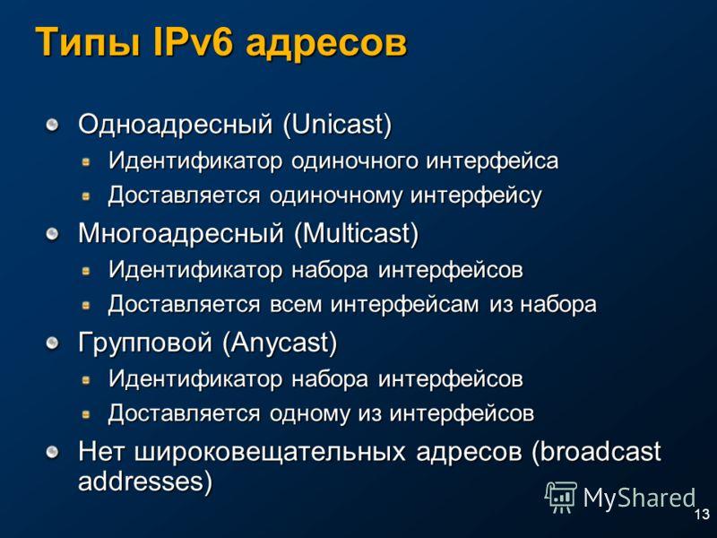 13 Типы IPv6 адресов Одноадресный (Unicast) Идентификатор одиночного интерфейса Доставляется одиночному интерфейсу Многоадресный (Multicast) Идентификатор набора интерфейсов Доставляется всем интерфейсам из набора Групповой (Anycast) Идентификатор на