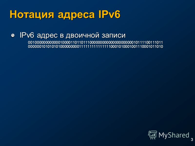 3 Нотация адреса IPv6 IPv6 адрес в двоичной записи 0010000000000001000011011011100000000000000000000010111100111011 0000001010101010000000001111111111111110001010001001110001011010