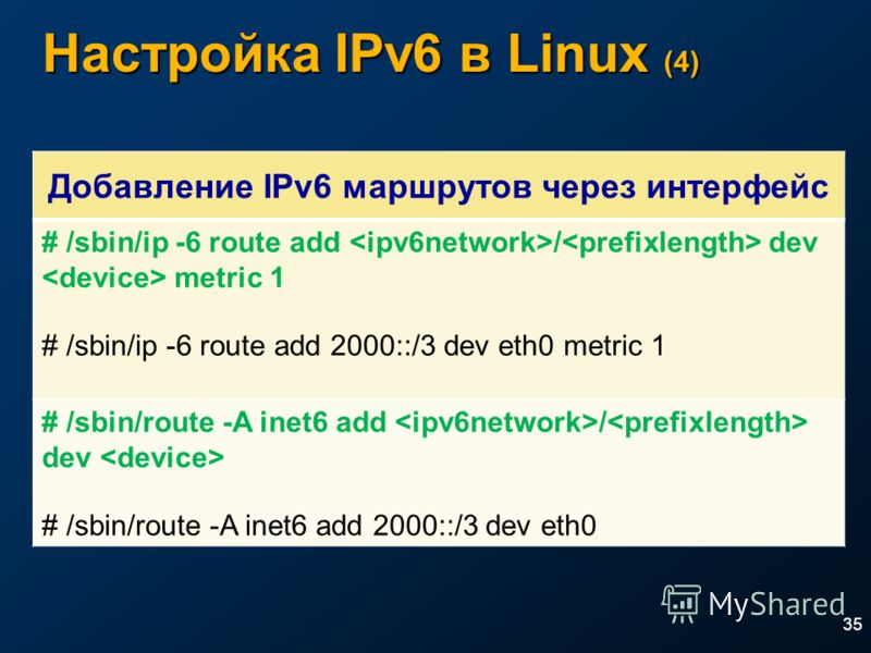 Настройка IPv6 в Linux (4) 35 Добавление IPv6 маршрутов через интерфейс # /sbin/ip -6 route add / dev metric 1 # /sbin/ip -6 route add 2000::/3 dev eth0 metric 1 # /sbin/route -A inet6 add / dev # /sbin/route -A inet6 add 2000::/3 dev eth0