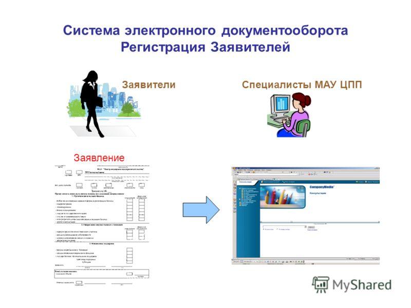 Система электронного документооборота Регистрация Заявителей ЗаявителиСпециалисты МАУ ЦПП Заявление