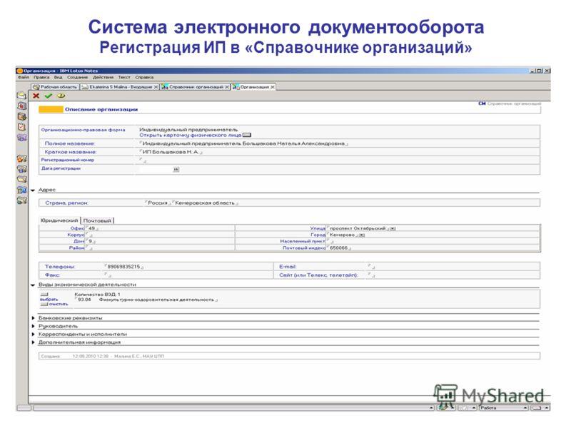 Система электронного документооборота Регистрация ИП в «Справочнике организаций»