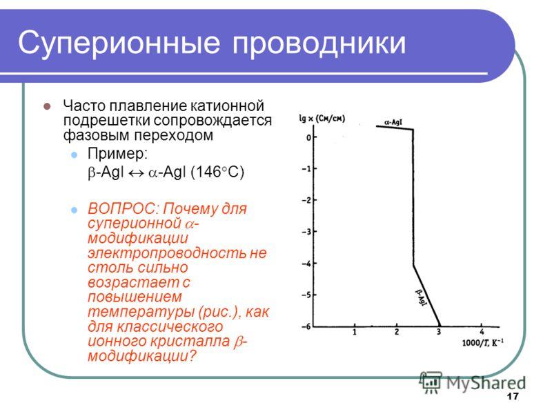 17 Суперионные проводники Часто плавление катионной подрешетки сопровождается фазовым переходом Пример: -AgI -AgI (146 C) ВОПРОС: Почему для суперионной - модификации электропроводность не столь сильно возрастает с повышением температуры (рис.), как