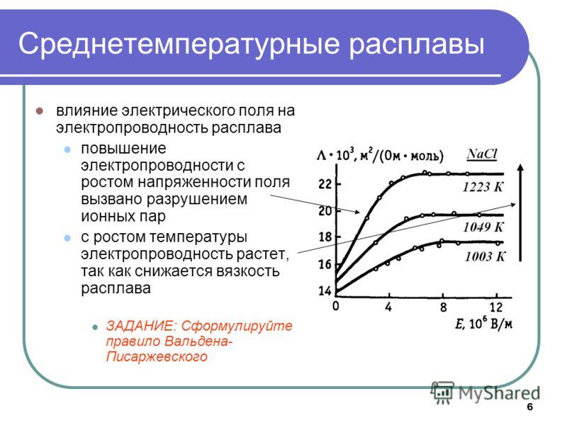 6 Среднетемпературные расплавы влияние электрического поля на электропроводность расплава повышение электропроводности с ростом напряженности поля вызвано разрушением ионных пар с ростом температуры электропроводность растет, так как снижается вязкос