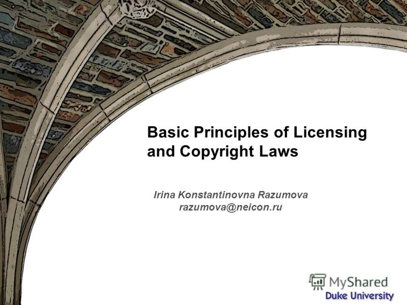 Вятка, октябрь 2009 Basic Principles of Licensing and Copyright Laws Irina Konstantinovna Razumova razumova@neicon.ru