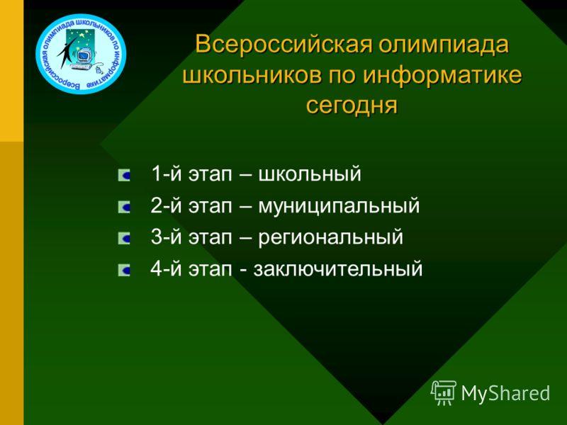 Всероссийская олимпиада школьников по информатике сегодня 1-й этап – школьный 2-й этап – муниципальный 3-й этап – региональный 4-й этап - заключительный