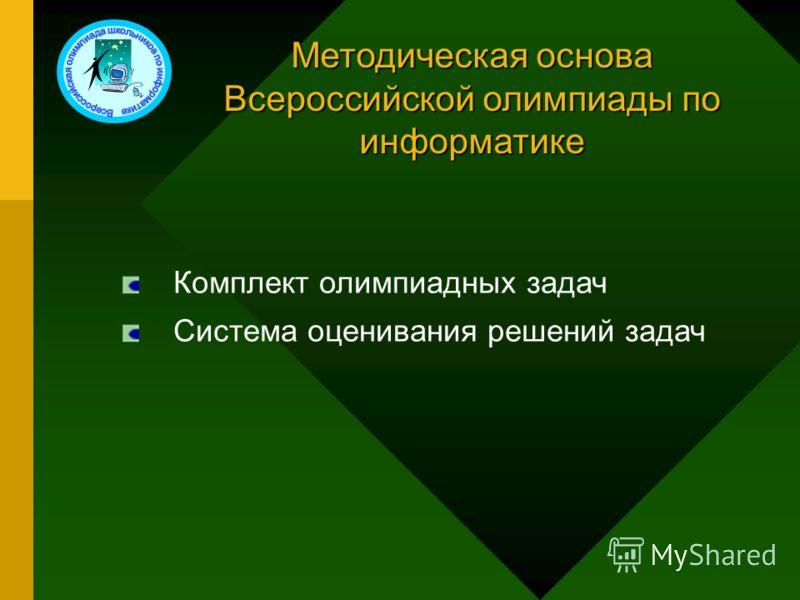 Методическая основа Всероссийской олимпиады по информатике Комплект олимпиадных задач Система оценивания решений задач