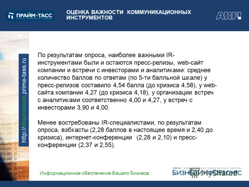 Информационное обеспечение Вашего бизнеса. http://disclosure.prime-tass.ru ОЦЕНКА ВАЖНОСТИ КОММУНИКАЦИОННЫХ ИНСТРУМЕНТОВ По результатам опроса, наиболее важными IR- инструментами были и остаются пресс-релизы, web-сайт компании и встречи с инвесторами